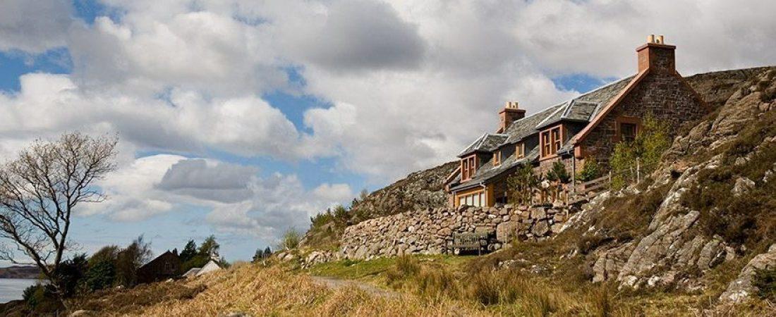 Luxury Torridon stone holiday house overlooking Loch Shieldaig, Scotland