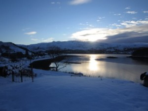 Winter sunset, luxury highland house, Shieldaig, Scotland