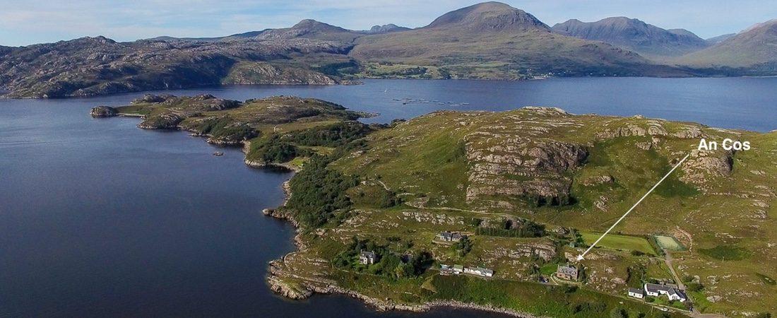 Luxury holiday lodge, Shieldaig peninsular, Scotland