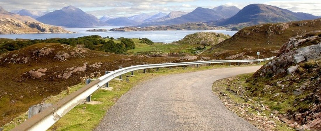 Driving to Shieldaig on Applecross Peninsula, Scotland