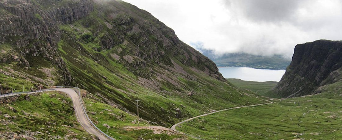 Bealach na Ba, highest ascent road in the UK, near Shieldaig, Scottish highlands