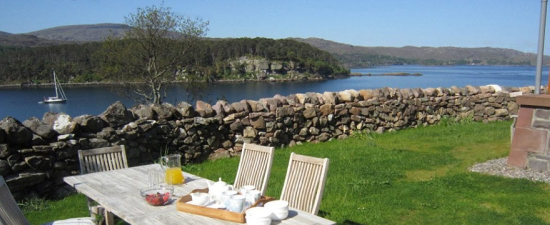 summer outdoor dining, luxury holiday house, Shieldaig, Scotland