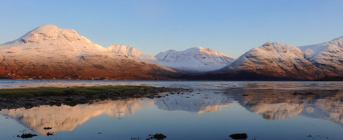 The Torridon Hills in winter from Shieldaig, Scotland