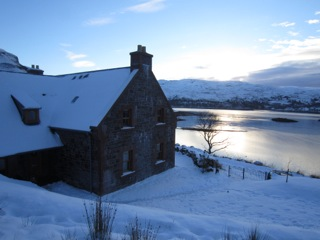Winter loch view, An Cos, luxury home, Shieldaig, Scotland