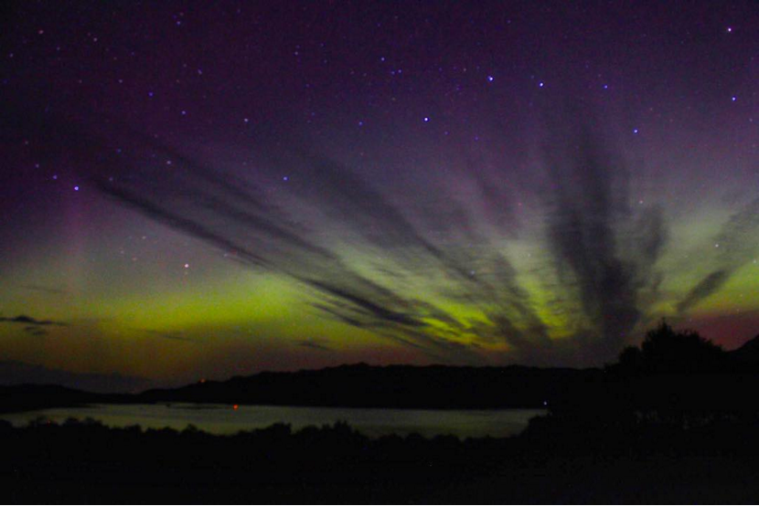 Northern lights over Shieldaig, Scottish highlands