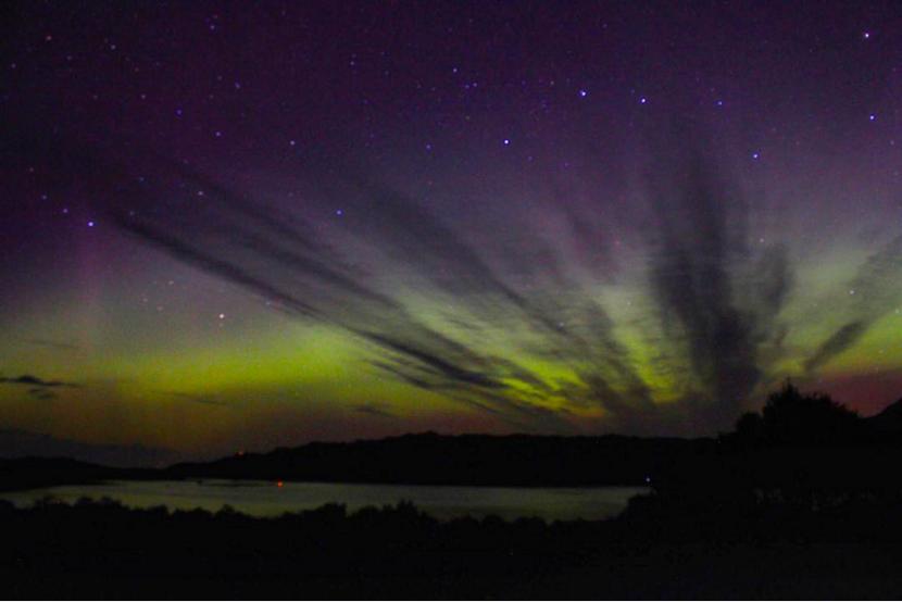 Northern lights over Shieldaig, Scottish highlands