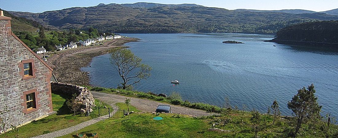 Scottish holiday lodge overlooking Loch Shieldaig, highlands