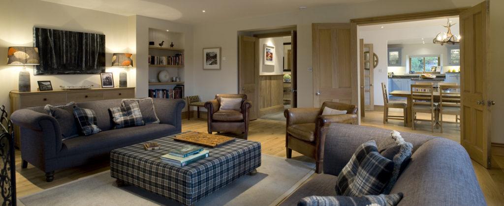Sitting room, luxury highland house, Shieldaig, Scottish highlands