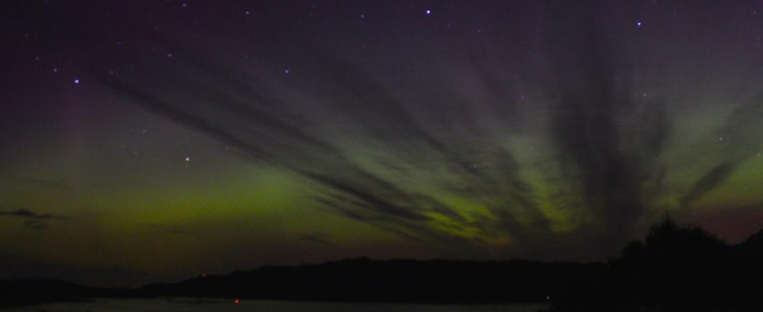 Northern lights in Shieldaig, Scotland