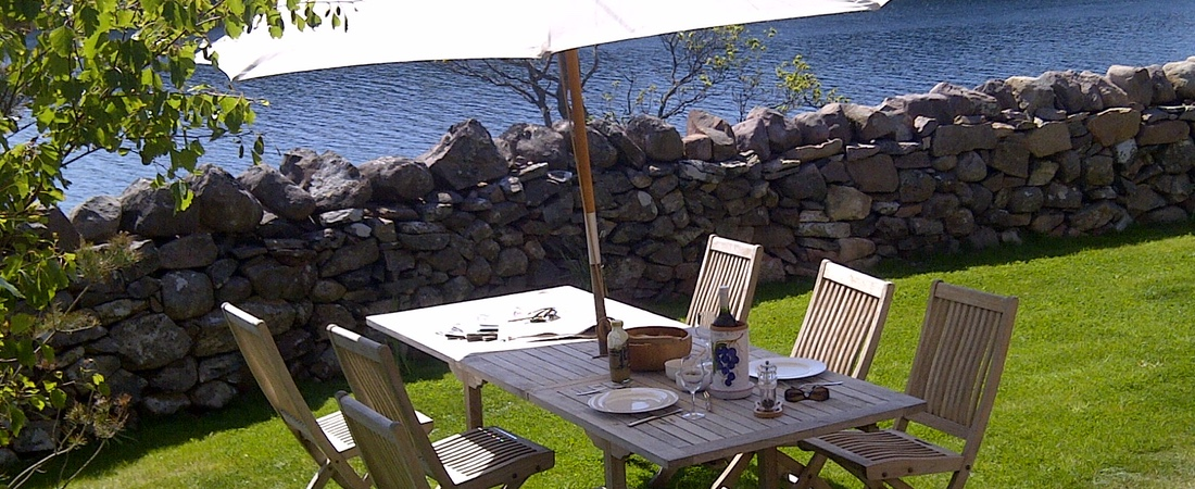 Al fresco dining, luxury holiday home, Shieldaig, Scottish highlands