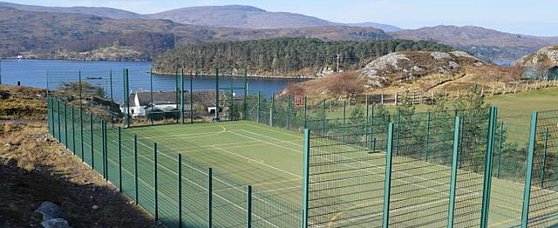 Scottish highlands all-weather tennis court Shieldaig
