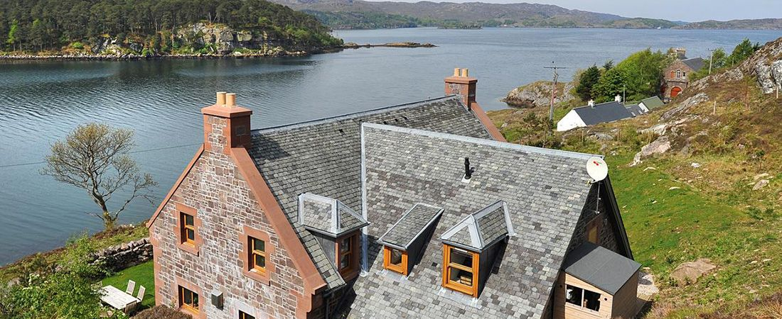 Luxury Torridon stone holiday house overlooking Loch Shieldaig, Scotland