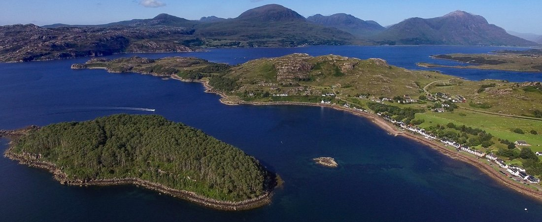 Shieldaig village & island Torridon mountains, Scotland